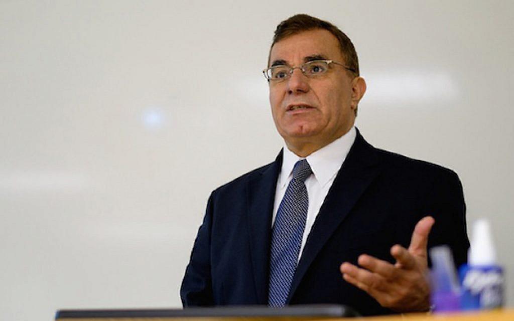 Nabil Abuznaid, the Palestinian Authority's ambassador to the Netherlands, speaking at James Madison University in Virginia, Oct. 6, 2014. (Courtesy James Madison University/JTA)