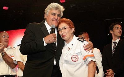 Jay Leno with Neomi Zvi, Israel's first full-time female paramedic, at the Friends of Magen David Adom Beverly Hills gala. (Orly Halevy)