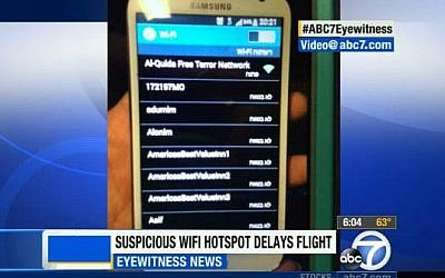 "A screenshot of a cellphone in-range of the WiFi hotspot ""Al-Quida Free Terror Nettwork."" (screen capture: ABC 7 Eyewitness News)"