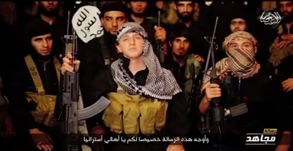 Australian teenage jihadist Abdullah Elmir threatens the west vowing that the Islamic State will 'not stop fighting until we reach your lands' (screen capture: YouTube)