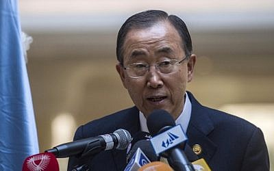 UN Secretary-General Ban Ki-moon speaks during a press conference at the Gaza donor conference in Cairo, Egypt, on October 12, 2014. (photo credit: AFP/Khaled Desouki)