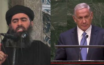 'Caliph' Abu Bakr al-Baghdadi, leader of the Islamic State and Prime Minister Benjamin Netanyahu.  (YouTube screenshot)