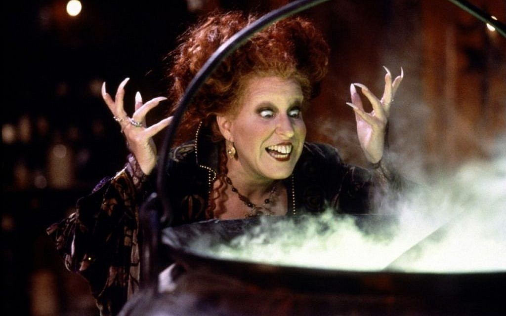 Bette Midler in the 1993 film 'Hocus Pocus,' a comedic twist on the Salem witch trials of 1692 (photo courtesy: Walt Disney Pictures)