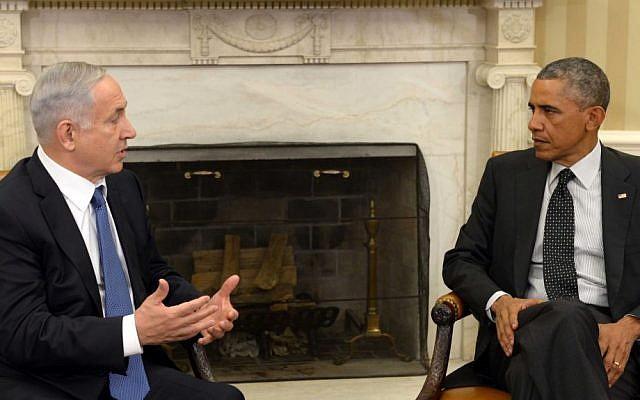 Prime Minister Benjamin Netanyahu with US President Barack Obama in the White House, October 1, 2014 (Avi Ohayon/GPO)