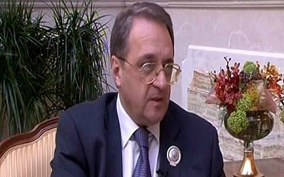 A screen capture of Russian deputy foreign minister Mikhail Bogdanov. (YouTube screen capture)