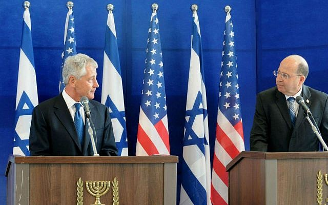 US Secretary of Defense Chuck Hagel and Defense Minister Moshe Ya'alon during the April 2013 press conference in which the sale was formally announced (photo credit: Ministry of Defense)