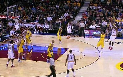 The Cleveland Cavaliers play Maccabi Tel Aviv in an international exhibition game, Sunday, October 5, 2014. (YouTube screenshot)