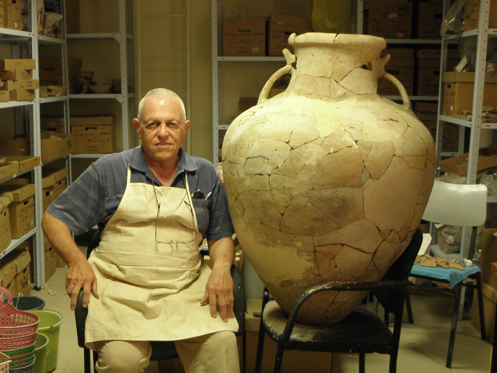 A reconstructed Bronze Age pithos found at Tel Burna. (photo courtesy of The Tel Burna Excavation Project)