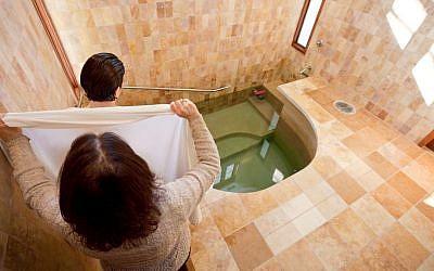 Illustrative photo of a mikveh, a Jewish ritual bath (Mayyim Hayyim / JTA)