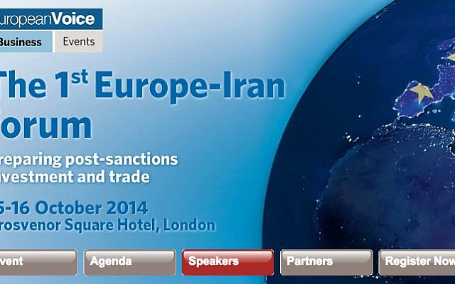 "The banner of the ""1st Europe-Iran forum,"" a ""post-sanctions investment and trade"" conference in London (photo credit: screen shot www.development-institute.com)"