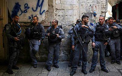 Illustrative photo of Israeli Border Police standing guard in Jerusalem's Old City, on Monday, October 13, 2014. (Hadas Parush/Flash90)