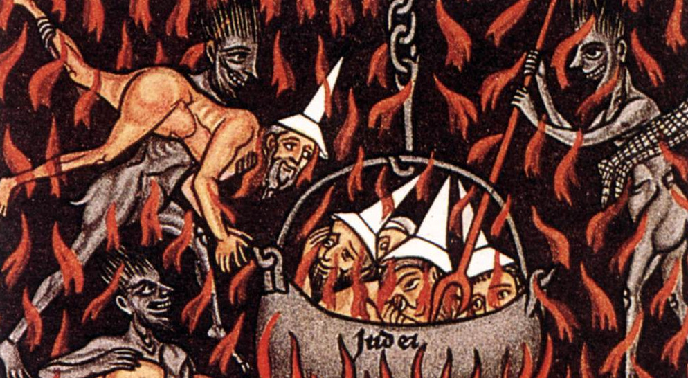 Medieval depiction of Jews being executed as they wear white, witch-like hats (photo credit: public domain)