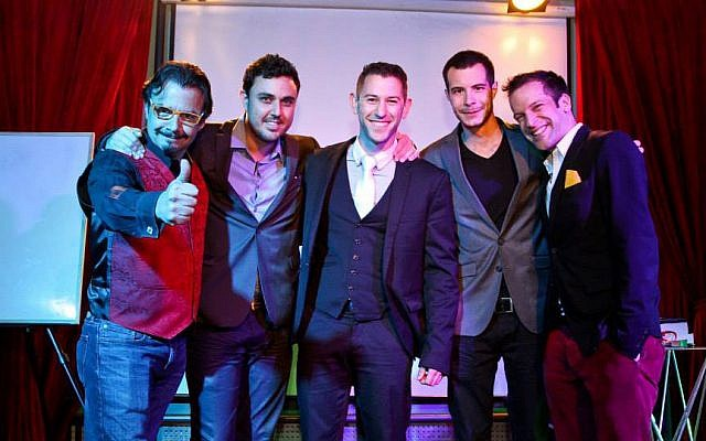 Dror Liwer, far left, with his performers Ran Gafner, Matan Rozenberg, Daniel Harel, and Itai Pinki. (photo credit: courtesy Sorcerers' Night)