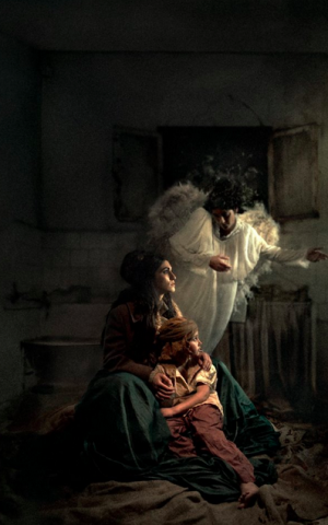 Hagar and her son, Ishmael, who is actually a girl in this portrait, since the boy originally slated to model was having a hard behaving (Courtesy Michal Baratz Koren)