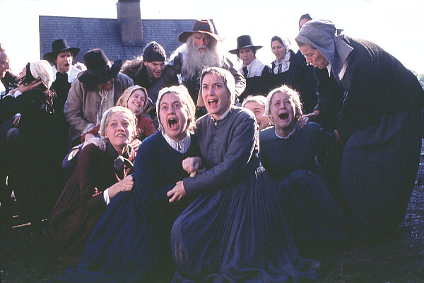 As seen in the 1996 film 'The Crucible,' the young women of Salem became 'hysterical' during the witch-craze of 1692, pointing the finger of blame at many of their neighbors (photo courtesy: 20th Century Fox)