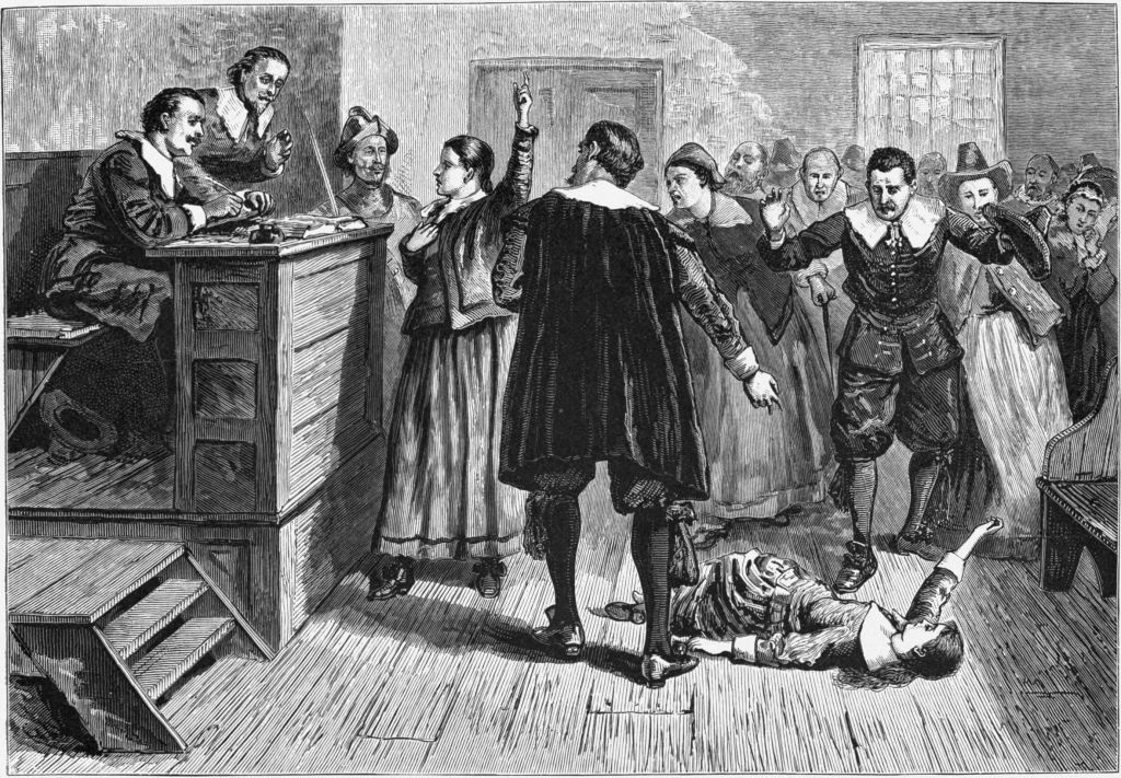 Depiction of the Salem witch trials of 1692, in Massachusetts  outside Boston (photo credit: public domain)