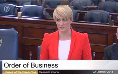 Irish Senator Averil Power speaking in the Senate in Dublin, October 22, 2014 (photo credit: screen grab YouTube)