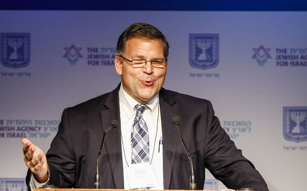Jerry Silverman, CEO of the Jewish Federations of North America, speaking at the umbrella group's General Assembly in Jerusalem, Nov. 7, 2013. (Flash90/via JTA)