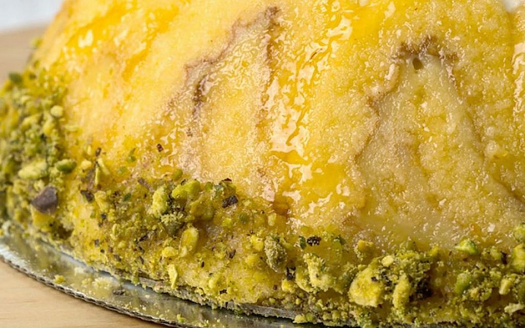 Lori Rapp's Lemon Bombe, a rounded confection of lemon curd, cake and pistachios (photo credit: Rebecca Kowalsky)