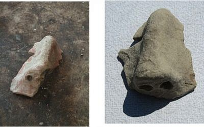 Fragments of Late Bronze Age ritual masks found at Tel Burna (photo courtesy of The Tel Burna Excavation Project)