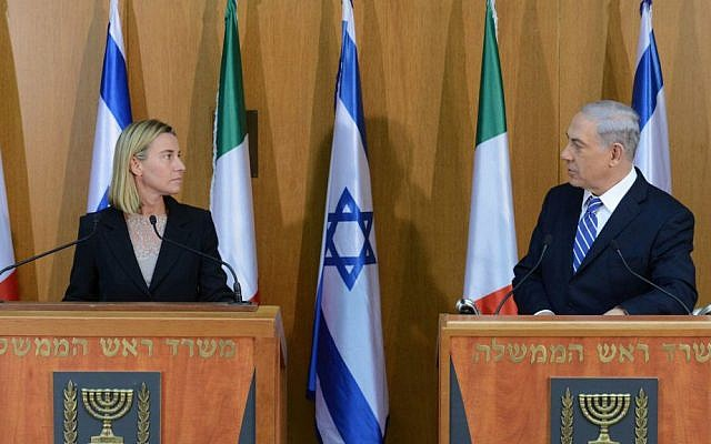 Prime Minister Benjamin Netanyahu meeting with Federica Mogherini at the Knesset, Jerusalem, on July 16, 2014. Photo by Kobi Gideon/GPO/Flash90