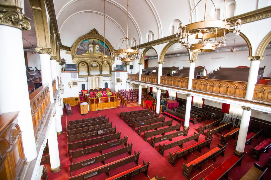 The interior of Roxbury's First Haitian Baptist Church, seen in Sept. 2014, almost half a century after the Jewish community sold the former synagogue (photo credit: Elan Kawesch/The Times of Israel)