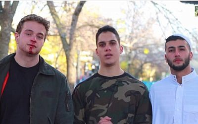 Omar Albach (center) with the two actors in his videotaped social experiment. (YouTube screenshot)