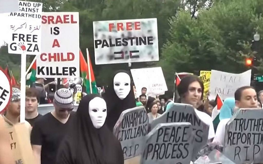 Illustrative photo of pro-Palestinian protesters in the US (photo credit: YouTube screen grab, Hamas On Campus)