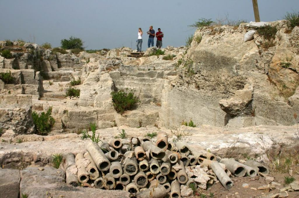 Pipes and quarry at Nahal Taninim photo credit: Shmuel Bar-Am)