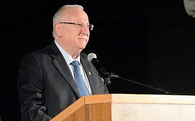 President Reuven Rivlin speaking at Kafr Kassem Sunday, October 26 (photo credit: Courtesy/ President's spokesman)