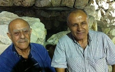 Yossi Mizrahi (R) and a friend from Iraq at the Saharane celebration during the Sukkot holiday, 2014 (photo credit: Lazar Berman/ Times of Israel)