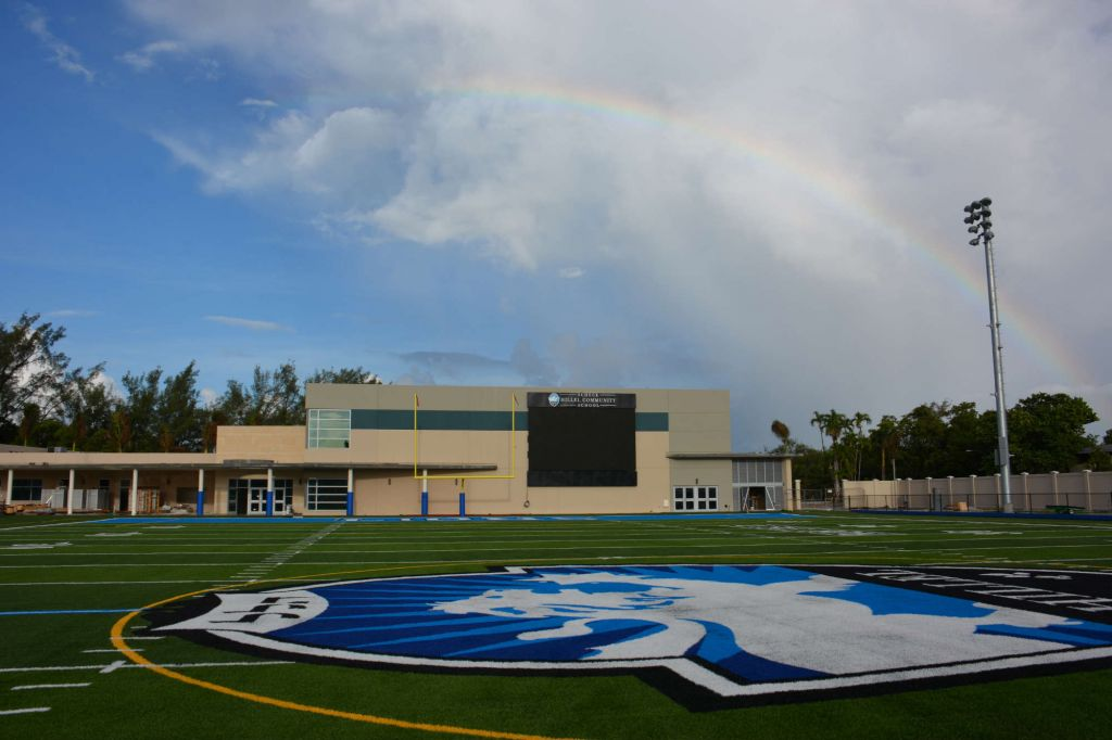 The new stadium at the Scheck Hillel Community Day School is part of a planned $22 million expansion at the South Florida school. (Courtesy Scheck Hillel/JTA)