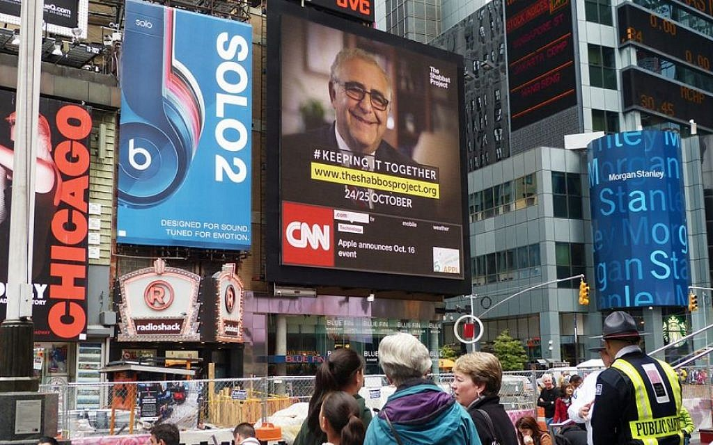 An ad in New York City's Times Square for the Shabbos Project. (courtesy)