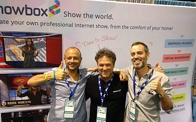 Showbox CEO Effi Atad (C.) with co-founders Tomer Afek (L.) and Yaron Waxman (R.) (Photeo credit: Courtesy)