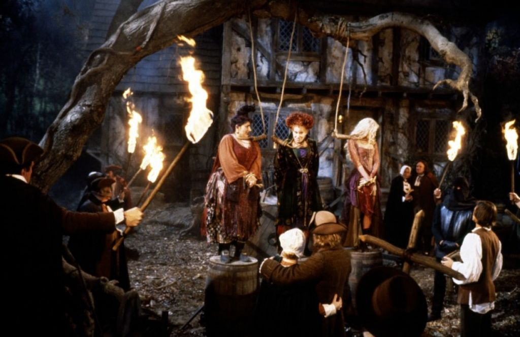 "In the 1993 Disney film ""Hocus Pocus,"" the fictional Sanderson sisters were executed for sucking the lives out of Salem's children (photo courtesy: Walt Disney Pictures)"