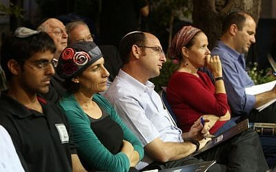 Families of the three kidnapped and murdered teens, Gilad Shaar, Naftali Fraenkel, and Eyal Yifrach, attend the annual Bible Study Club hosted by Prime Minister Benjamin Netanyahu and Education Minister Shai Piron, at the Prime Minister's Jerusalem residence on October 5, 2014.  (photo credit: Marc Israel Sellem/POOL)