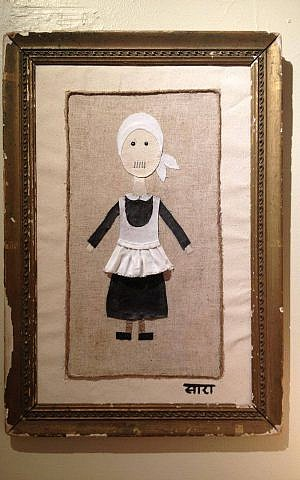 """Sara Erenthal's 'Mea Shearim, The Mother.' Mixed media: canvas, linen, cottons, burlap, rope, acrylics, staples in antique frame 25"""" x 17.5"""" (courtesy)"""