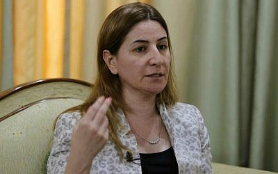 Iraq's only Yazidi member of Parliament, Vian Dakhil, answers questions during an interview on September 20, 2014 in Erbil, the capital of the Kurdish autonomous region in northern Iraq. (photo credit: Mohammed Sawaf/AFP)