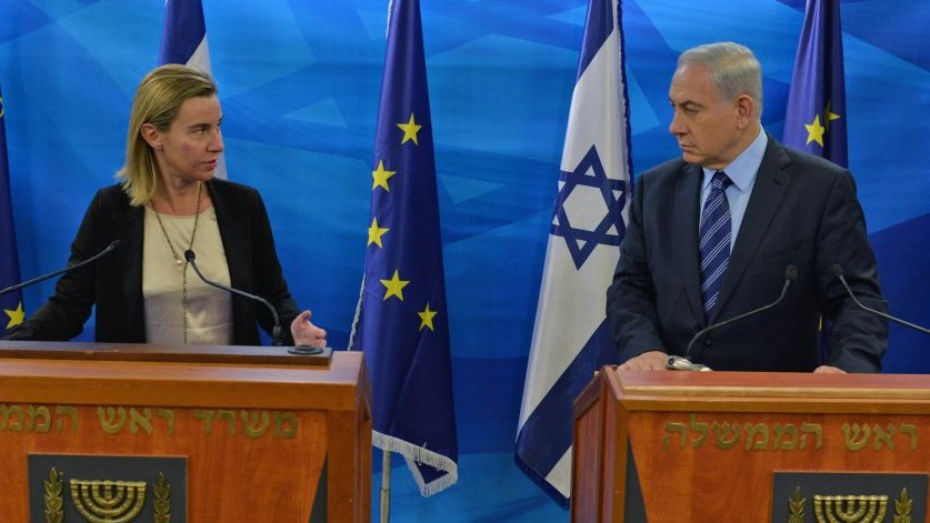 Prime Minister Benjamin Netanyahu (R) and the High Representative of the European Union for Foreign Affairs and Security Policy Federica Mogherini (L) in Jerusalem on November 7, 2014 (Photo credit: Kobi Gideon/GPO)