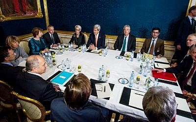 Nuclear talks between the P5+1 and Iran in Vienna on November 21, 2014 (Photo credit: Vladimir Simicek/AFP)
