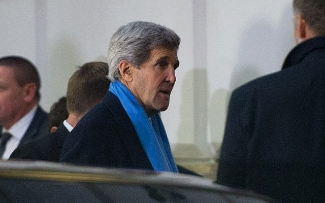 US Secretary of State John Kerry arrives for nuclear talks with Iran at the Palais Coburg in Vienna on November 22, 2014. (Photo credit: AFP/JOE KLAMAR)