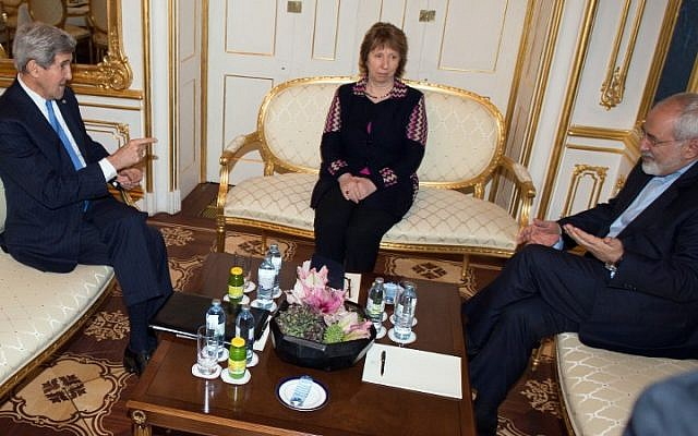 US Secretary of State John Kerry (left), former EU Foreign Policy Chief Catherine Ashton and Iranian Foreign Minister Mohammad Javad Zarif meet on the sidelines of nuclear talks with Iran at the Palais Coburg in Vienna on November 22, 2014 (photo credit: AFP/POOL/JOE KLAMAR)