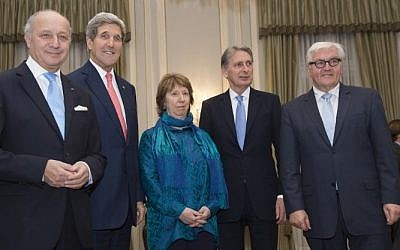 From left to right: French Foreign Minister Laurent Fabius, US Secretary of State John Kerry, former EU foreign policy chief Catherine Ashton, the High Representative of the Union for Foreign Affairs, Britain's Foreign Secretary Philip Hammond and German Foreign Minister Frank-Walter Steinmeier meet for the dinner at the residence of British ambassador in Vienna on November 23, 2014.  (Photo credit: AFP/POOL/ JOE KLAMAR)