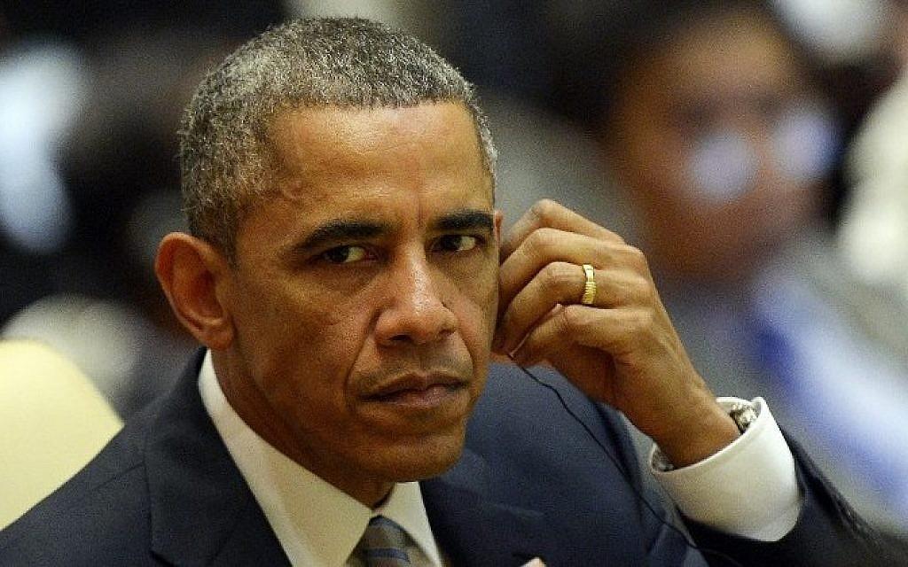 US President Barack Obama, November 13, 2014 (photo credit: AFP/Christophe Archambault)