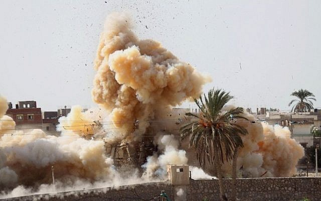 Illustrative photo of a military operation by Egyptian security forced near the border with southern Gaza Strip on November 2, 2014. (AFP/Said Khatib)