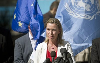 Federica Mogherini speaks as she visits a UN-run school in Gaza on November 8, 2014. (photo credit: AFP/MAHMUD HAMS)