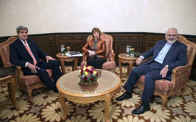 US Secretary of State John Kerry (L), former EU top diplomat Catherine Ashton (C) and Iranian Foreign Minister Javad Zarif (R) meet in Muscat on November 10, 2014. (photo credit: AFP PHOTO/POOL/Nicholas KAMM)