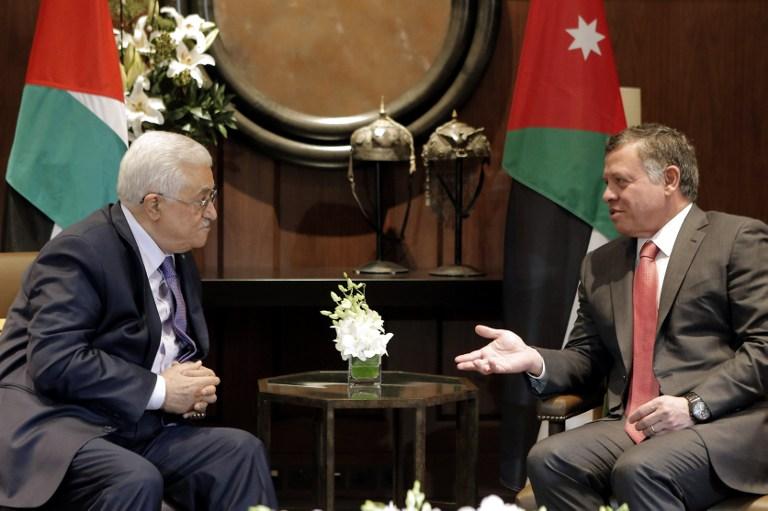Jordans King Abdullah II R Talks With Palestinian Authority President Mahmoud Abbas Before A