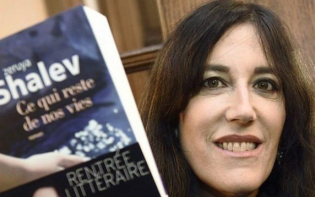 Israeli writer Zeruya Shalev in Paris after receiving the Prix Femina literary prize for best foreign novel, November 3, 2014. (photo credit: AFP/Eric Feferberg)