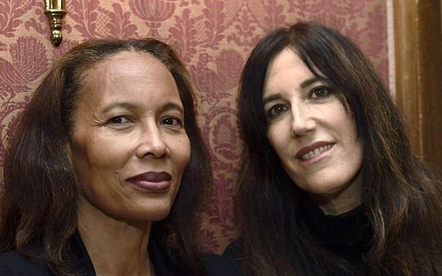 Haitian writer Yanick Lahens and Israeli writer Zeruya Shalev. Both werew awarded the Prix Femina literary prize on November 3, 2014 in Paris. (photo credit: AFP / ERIC FEFERBERG)